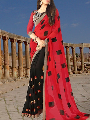 red & black georgette half and half saree