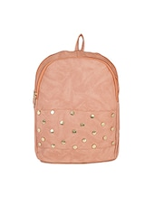 peach leatherette  fashion backpack -  online shopping for backpacks