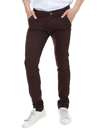 brown cotton chinos casual trousers -  online shopping for Casual Trousers