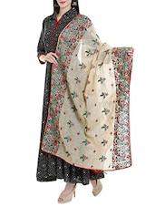 Beige Cotton Blend Embroidered Dupatta - By