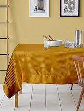 Lushomes Contemporary Table Cloth With Striped Center And Plain Border - By
