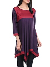 Maroon & Purple Rayon Asymmetric Kurta - By