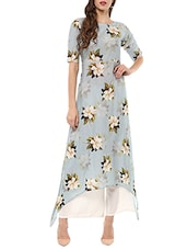 Sky Blue Cotton Printed High-low Kurta - By