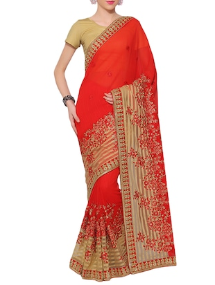 red embroidered georgette  saree -  online shopping for Sarees