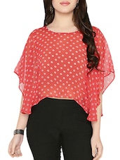 pink printed poly georgette crop top -  online shopping for Tops