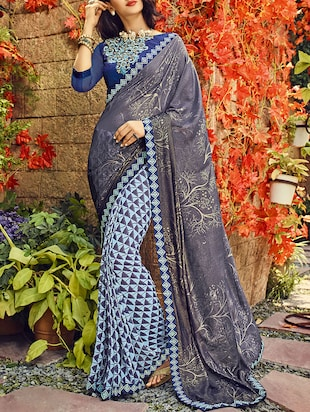 grey & blue georgette printed half & half saree