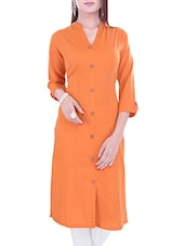 Orange Cotton Straight Kurta - By
