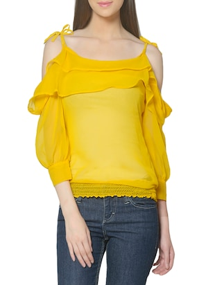 classic 18 yellow georgette ruffle top -  online shopping for Tops