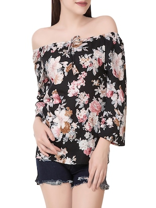 black floral printed crepe regular top -  online shopping for Tops