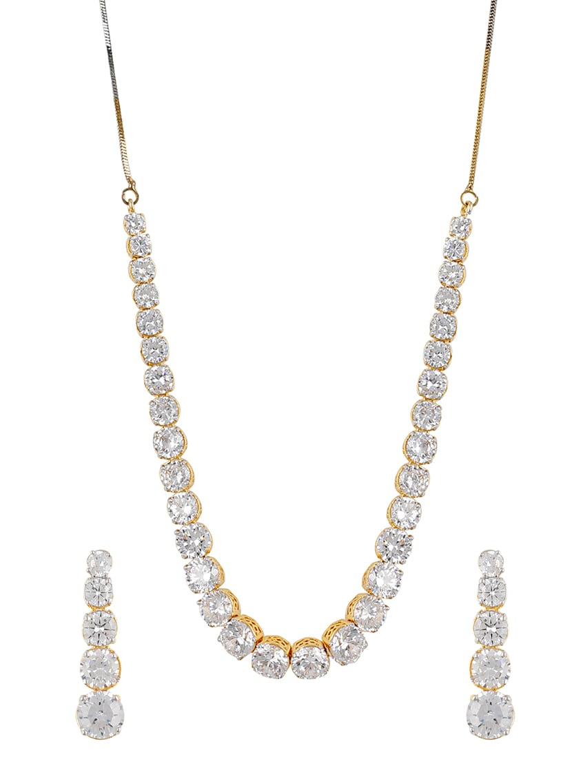 White Gold Plated Necklaces And Earring - By