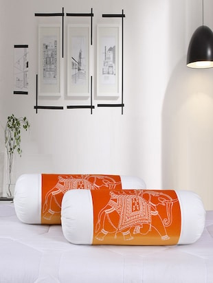 Salona Bichona 100% Cotton Set of 2 Bolster Cover -  online shopping for pillow covers