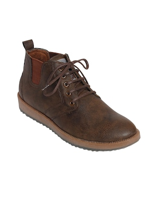 brown leatherette lace up boot