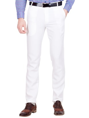 white cotton blend formal trouser -  online shopping for Formal Trousers