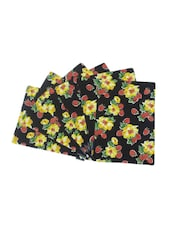 Black Floral Printed Cotton Set Of 6 Table Mat - By