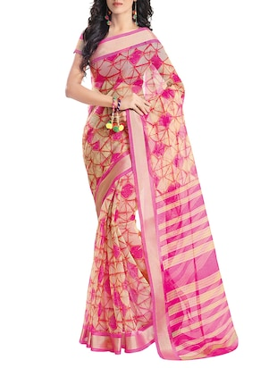 pink cotton printed saree -  online shopping for Sarees