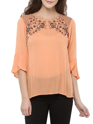 peach embroidered regular top
