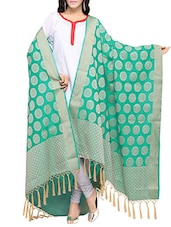 Green Art Silk Woven Dupatta - By