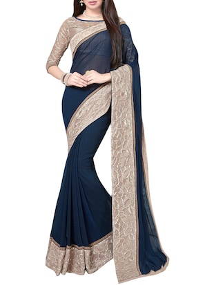 blue bordered georgette saree