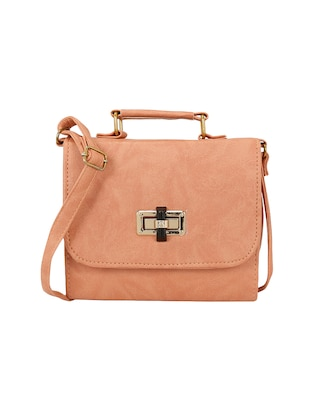 peach  leatherette  regular sling bag -  online shopping for sling bags