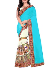 Turquoise & white georgette embroidered half & half saree -  online shopping for Sarees