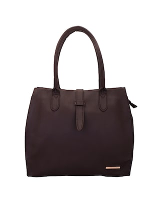 brown leatherette  regular handbag