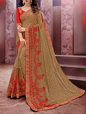 Beige net embroidered saree -  online shopping for Sarees