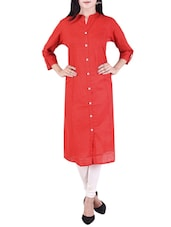 Red Cotton Straight Kurta With Roll Up Sleeve - By