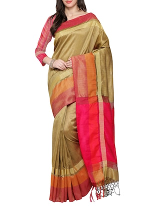 beige art silk bordered saree