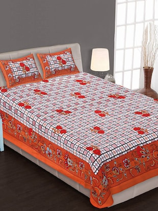 Jaipuri Multi Color Printed Double Bedsheet With 2 Pillow Covers