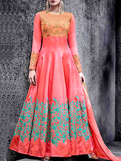 peach georgette anarkali dress material -  online shopping for Dress Material