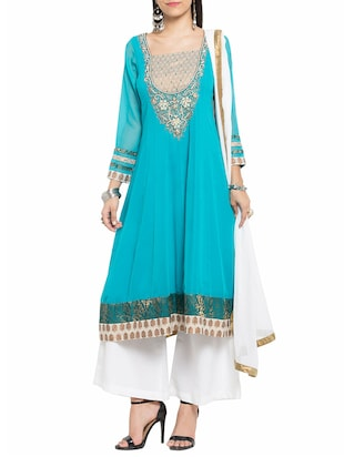 Turquoise georgette anarkali stitched suit -  online shopping for Stitched Suits