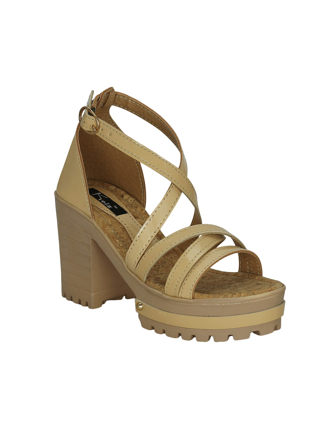 b8f570c9912 Buy Beige Synthetic   Mesh Platforms Sandals by Kielz - Online ...