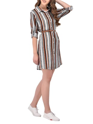 striped multi colored rayon shirt dress