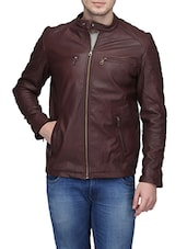 maroon leather casual jacket -  online shopping for Biker Jacket