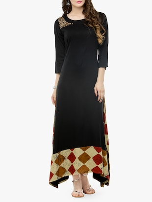 black checkered cotton maxi dress