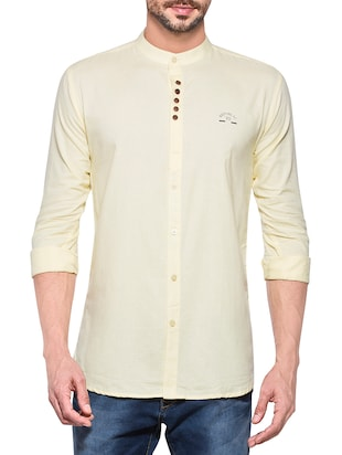 yellow cotton casual shirt