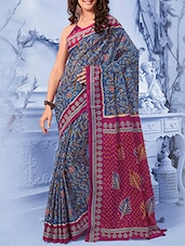blue cotton bandhani saree -  online shopping for Sarees
