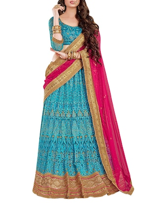 blue net flared lehenga