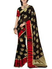 black cotton silk printed saree -  online shopping for Sarees