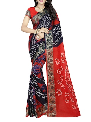 multicoloured art silk bandhani saree