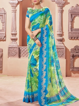 sky blue georgette printed saree