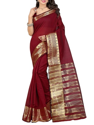 maroon bordered saree