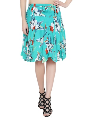 blue printed rayon flared skirt