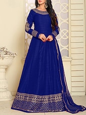 blue silk embroidered anarkali semi-stitched suit -  online shopping for Semi-Stitched Suits