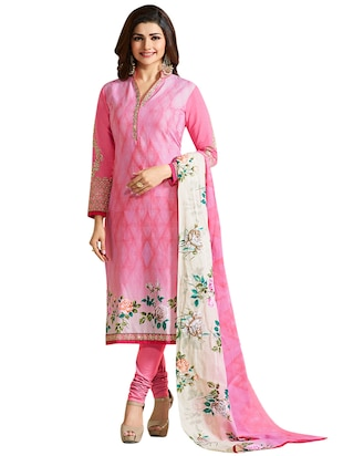 brijraj pink straight unstitched suit