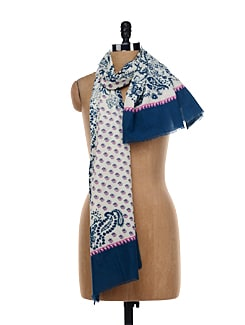 White And Navy Floral Scarf - TIARA