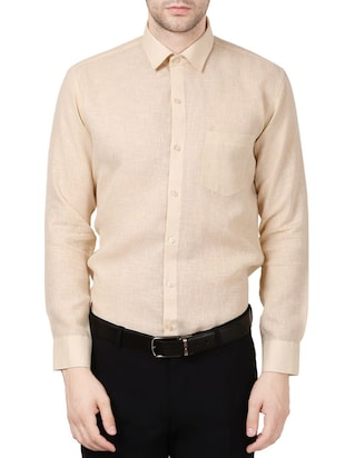beige linen formal shirt