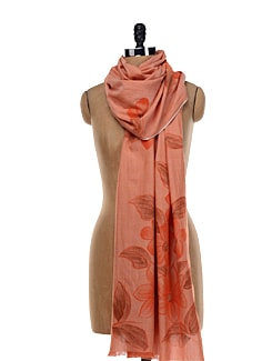 Painted Floral Orange Stole - TIARA