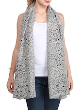 Grey Viscose Printed Scarf - By