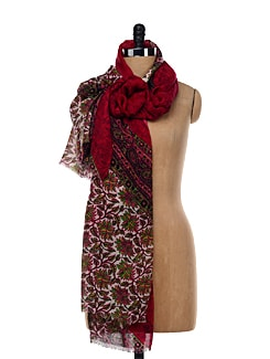 Cherry Red Floral Border Shawl - Shingora